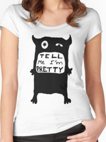 Pretty Monster Drawing in Black and White Women's Fitted Scoop T-Shirt