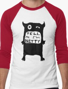 Pretty Monster Drawing in Black and White Men's Baseball ¾ T-Shirt