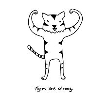 Tigers are Strong Black and White Drawing Photographic Print