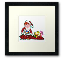 Merry Christmas Cartoon Santa Framed Print