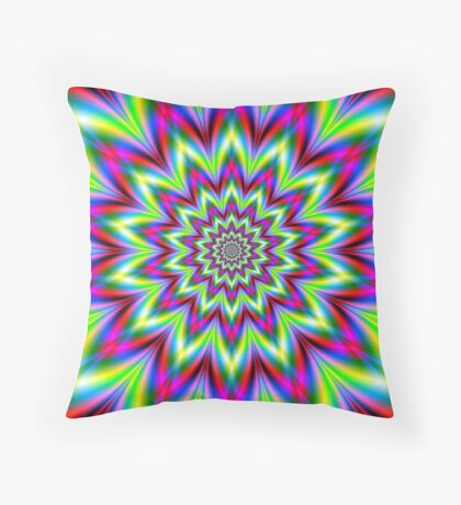 Psychedelic Star Flower Throw Pillow