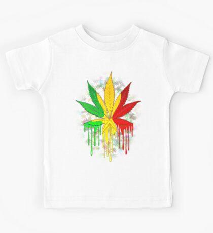 Marijuana Leaf Rasta Colors Dripping Paint Kids Tee