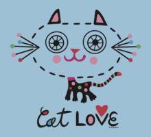 Cat Love - heart Kids Tee