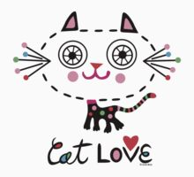 Cat Love - heart One Piece - Short Sleeve