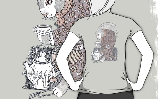 The March Hare Awaits Tee by Anita Inverarity