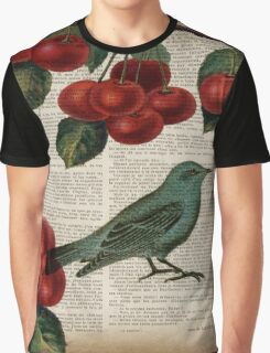 shabby chic hipster teal bird botanical cherry  Graphic T-Shirt