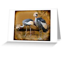 Pair Of Cranes And A Pear Greeting Card