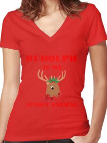 RUDOLPH IS MY SPIRIT ANIMAL Women's Fitted V-Neck T-Shirt