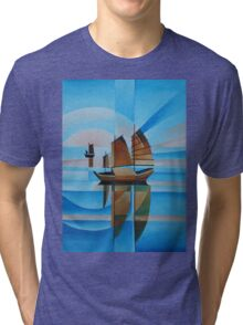 Soft Skies, Cerulean Seas and Cubist Junks Tri-blend T-Shirt