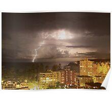 Lightning strikes the ocean off Manly beach Australia Poster