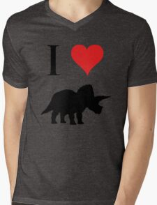 I Love Dinosaurs - Triceratops Mens V-Neck T-Shirt