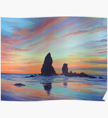 Haystack Rock, Canon Beach. USA Poster