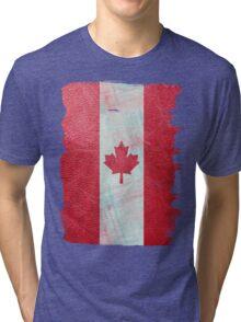 Canadian flag  leather Tri-blend T-Shirt