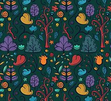 Plant Pattern Color 2 by Adriana Cruz Berdecia