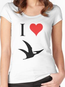I Love Dinosaurs - Pterodactyl Women's Fitted Scoop T-Shirt