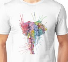 Colorful Watercolor and Ink Elephant Unisex T-Shirt