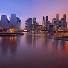 Marina Bay, Singapore At Dusk. (2) by Ralph de Zilva