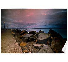 Sky, Rocks, and Bridge Poster