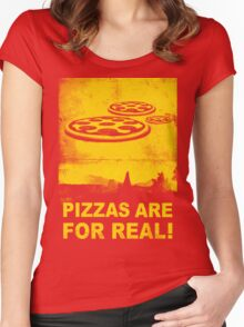 Pizzas are for real! ...Fast flying pizzas Women's Fitted Scoop T-Shirt