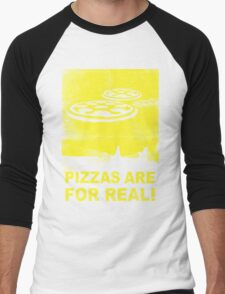 Pizzas are for real! ...Fast flying pizzas Men's Baseball ¾ T-Shirt