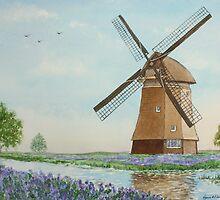 Windmill and Blubells by Lynne  Kirby