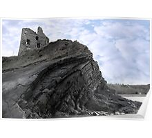 old ruins of a castle on a high cliff Poster