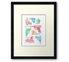 Watercolor Waterguns Framed Print