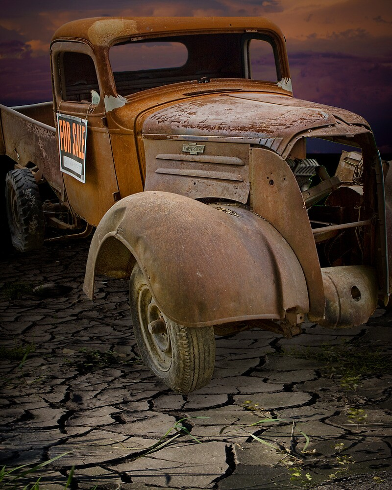 Vintage Pickup on Parched Earth by Randall Nyhof