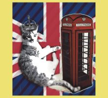 uk union jack flag london telephone booth funny royal kitty cat Baby Tee
