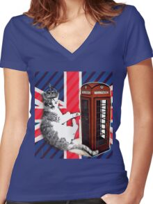 uk union jack flag london telephone booth funny royal kitty cat Women's Fitted V-Neck T-Shirt