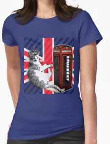 uk union jack flag london telephone booth funny royal kitty cat Womens Fitted T-Shirt