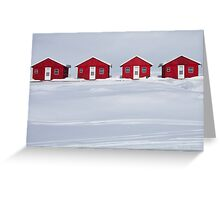 Four Red Cabins in Winter Greeting Card