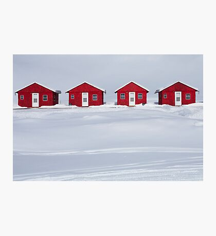 Four Red Cabins in Winter Photographic Print