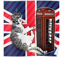 uk union jack flag london telephone booth funny royal kitty cat Poster