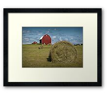 Hay Bales and Red Barn Framed Print