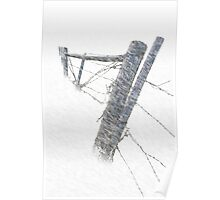 Barbed Wire Fence in a Snow Storm  Poster