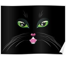 Black Cat Face with Green Eyes Poster