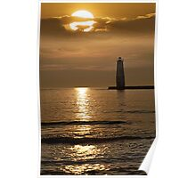 Sunset at the Frankfort Lighthouse in Michigan Poster