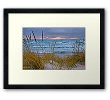 Sunset Photograph of a Dune with Beach Grass at Holland Michigan No. 0199 Framed Print