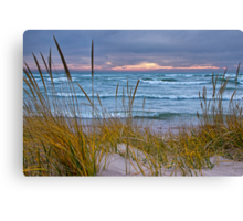 Sunset Photograph of a Dune with Beach Grass at Holland Michigan No. 0199 Canvas Print