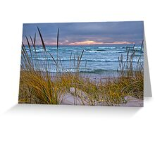 Sunset Photograph of a Dune with Beach Grass at Holland Michigan No. 0199 Greeting Card