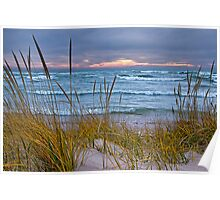 Sunset Photograph of a Dune with Beach Grass at Holland Michigan No. 0199 Poster