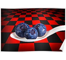 Blueberries on White Spoon against Checker Board Background Poster