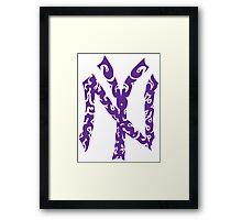 Yankees Tribal Purple Framed Print