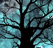 owl perched in ancient tree on moonlit night by morrbyte