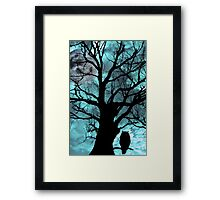 owl perched in ancient tree on moonlit night Framed Print