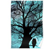 owl perched in ancient tree on moonlit night Poster