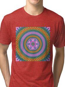 Floral Motif in Chevron Rings Tri-blend T-Shirt