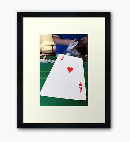 poker player throwing hand of cards Framed Print