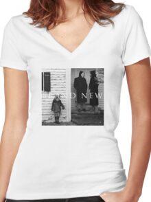 Brand New Square Design Women's Fitted V-Neck T-Shirt